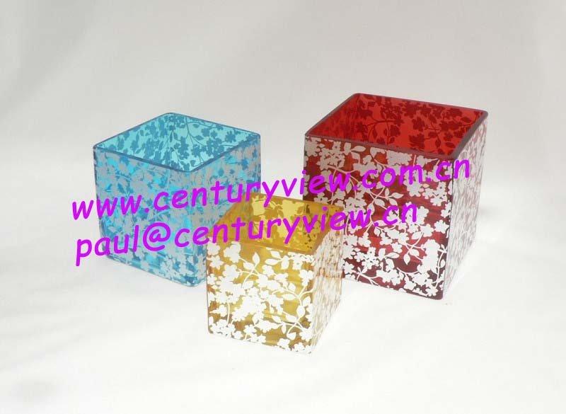 "4"",5"",6"",8"",10"" glass cube vase"