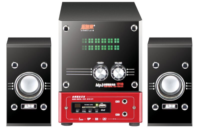 2.1 channel multimedia speaker system with usb/sd function