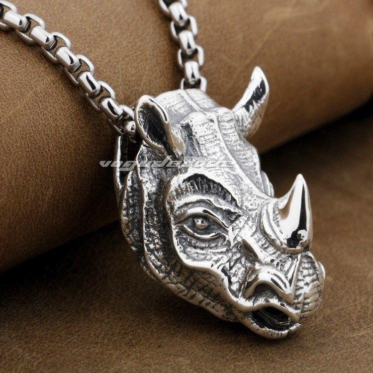 Rhino Rhinoceros Head Solid 925 Sterling Silver Me...