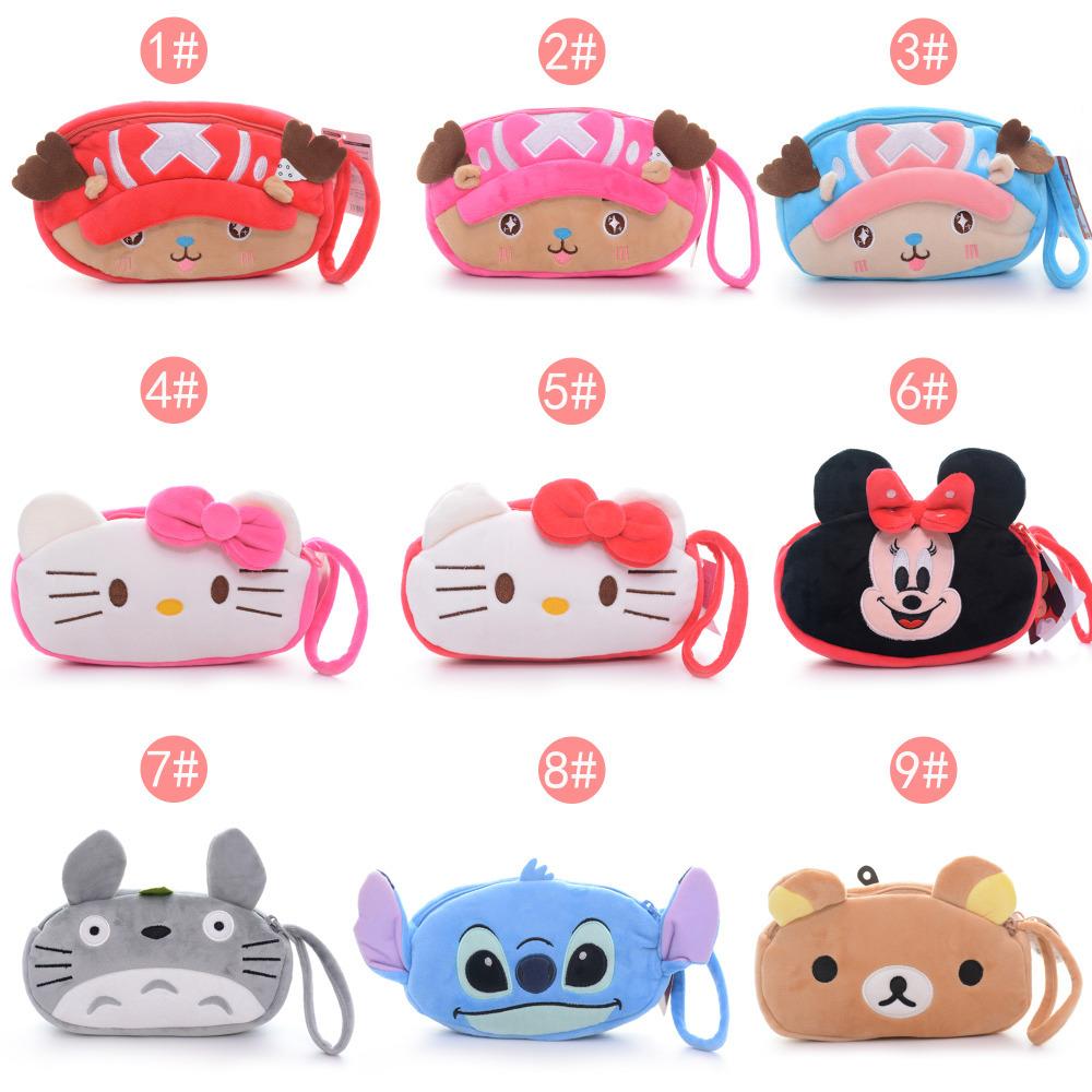 6 styles 2 Layer 4*6\'\' Cute Portable Cartoon Plush Coin purse/Card/Key/Cellphone Hand Caught Bag Free Shipping #LNF